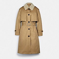 COACH C5160 - TRENCH WITH REVERSIBLE BUFFALO PLAID LINER CLASSIC KHAKI
