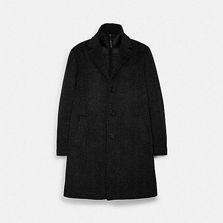 COACH C5203 HERRINGBONE WOOL TOP COAT BLACK