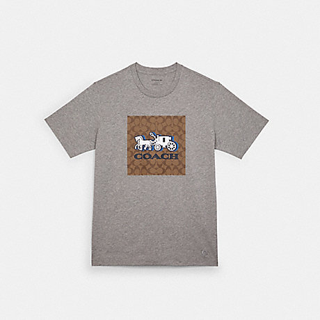 COACH C5206 HORSE AND CARRIAGE T-SHIRT HEATHER GREY