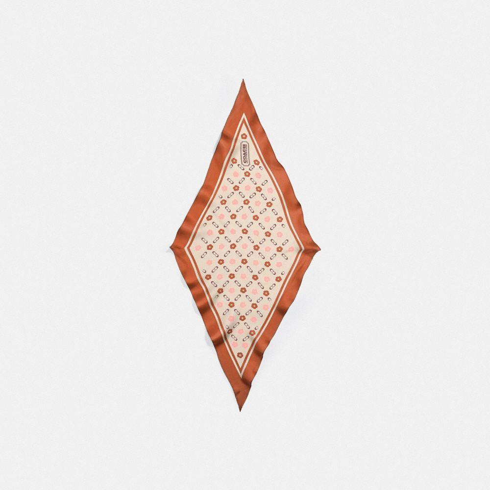 TEA ROSE PRINT SILK DIAMOND SCARF