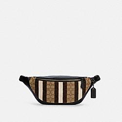 WARREN BELT BAG IN SIGNATURE JACQUARD WITH STRIPES - QB/KHAKI BLACK MULTI - COACH C5292