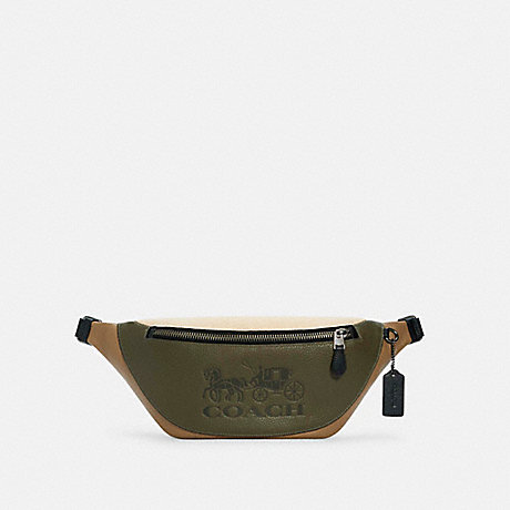 COACH C5385 WARREN BELT BAG IN COLORBLOCK WITH HORSE AND CARRIAGE QB/OLIVE DRAB ELM MULTI
