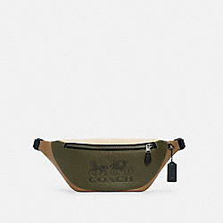 WARREN BELT BAG IN COLORBLOCK WITH HORSE AND CARRIAGE - QB/OLIVE DRAB ELM MULTI - COACH C5385