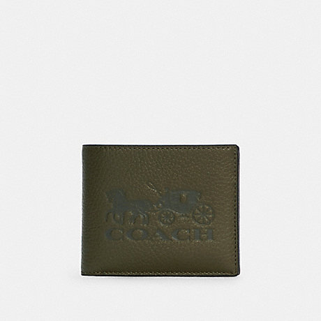 COACH C5445 3-IN-1 WALLET IN COLORBLOCK WITH HORSE AND CARRIAGE QB/OLIVE DRAB MULTI