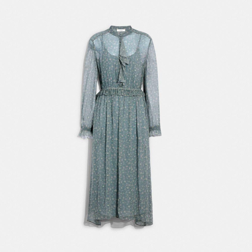 RUFFLE FRONT DRESS WITH GATHERED YOKE