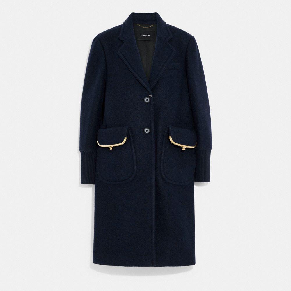 環保羊毛與聚酯纖維平紋織物大衣