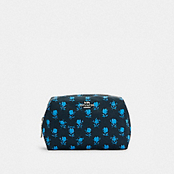 SMALL BOXY COSMETIC CASE WITH BADLAND FLORAL PRINT - C5583 - SV/MIDNIGHT NAVY MULTI
