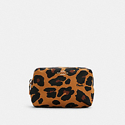 SMALL BOXY COSMETIC CASE WITH LEOPARD PRINT - C5584 - IM/LIGHT SADDLE MULTI