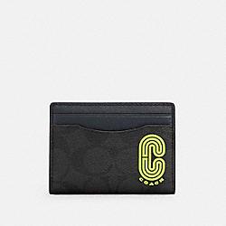 MAGNETIC CARD CASE IN SIGNATURE CANVAS - C5595 - QB/BLACK MIDNIGHT MULTI