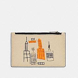COACH X JEAN-MICHEL BASQUIAT ZIP CARD CASE - C5650 - QB/IVORY MULTI