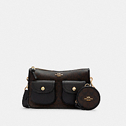 PENNIE CROSSBODY WITH COIN CASE IN SIGNATURE CANVAS - C5675 - IM/BROWN BLACK