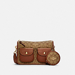 PENNIE CROSSBODY WITH COIN CASE IN SIGNATURE CANVAS - C5675 - IM/KHAKI REDWOOD