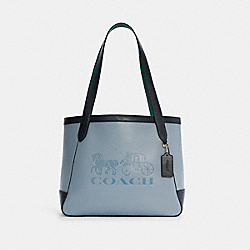 TOTE IN COLORBLOCK WITH HORSE AND CARRIAGE - C5676 - IM/TWILIGHT MULTI