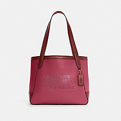 TOTE IN COLORBLOCK WITH HORSE AND CARRIAGE - C5676 - IM/BRIGHT VIOLET MULTI