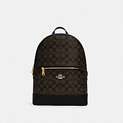 KENLEY BACKPACK IN SIGNATURE CANVAS - C5679 - IM/BROWN BLACK