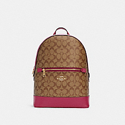 KENLEY BACKPACK IN SIGNATURE CANVAS - C5679 - IM/KHAKI/BRIGHT VIOLET