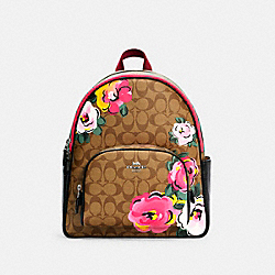 COURT BACKPACK IN SIGNATURE CANVAS WITH VINTAGE ROSE PRINT - C5681 - SV/KHAKI MULTI
