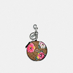 COACH C5699 - CIRCULAR COIN POUCH IN SIGNATURE CANVAS WITH VINTAGE ROSE PRINT SV/KHAKI PINK