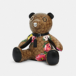BEAR COLLECTIBLE IN SIGNATURE CANVAS WITH VINTAGE ROSE PRINT - C5707 - SV/KHAKI/PINK
