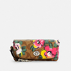 SUNGLASS CASE IN SIGNATURE CANVAS WITH VINTAGE ROSE PRINT - C5708 - SV/KHAKI/PINK