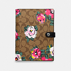 COACH C5709 - NOTEBOOK IN SIGNATURE CANVAS WITH VINTAGE ROSE PRINT KHAKI/PINK