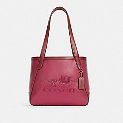 TOTE 27 IN COLORBLOCK WITH HORSE AND CARRIAGE - C5775 - IM/BRIGHT VIOLET MULTI