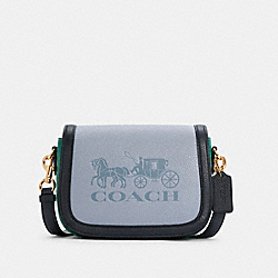 SADDLE IN COLORBLOCK WITH HORSE AND CARRIAGE - C5776 - IM/TWILIGHT MULTI