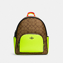 COURT BACKPACK IN COLORBLOCK SIGNATURE CANVAS - C5808 - QB/KHAKI/GLO LIME