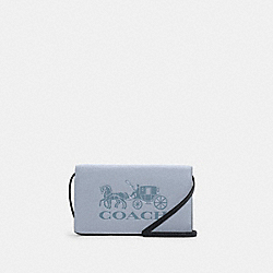 ANNA FOLDOVER CLUTCH CROSSBODY IN COLORBLOCK WITH HORSE AND CARRIAGE - C5887 - IM/TWILIGHT MULTI