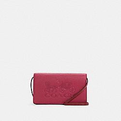 ANNA FOLDOVER CLUTCH CROSSBODY IN COLORBLOCK WITH HORSE AND CARRIAGE - C5887 - IM/BRIGHT VIOLET MULTI