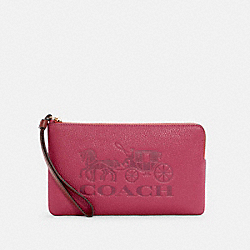 LARGE CORNER ZIP WRISTLET IN COLORBLOCK WITH HORSE AND CARRIAGE - C5888 - IM/BRIGHT VIOLET MULTI