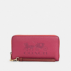 LONG ZIP AROUND WALLET IN COLORBLOCK WITH HORSE AND CARRIAGE - C5889 - IM/BRIGHT VIOLET MULTI