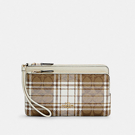 COACH C6008 DOUBLE ZIP WALLET IN SIGNATURE CANVAS WITH HUNTING FISHING PLAID PRINT IM/KHAKI CHALK MULTI