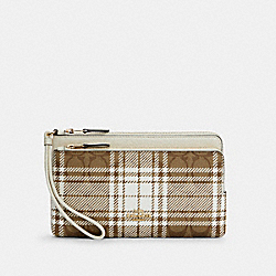 DOUBLE ZIP WALLET IN SIGNATURE CANVAS WITH HUNTING FISHING PLAID PRINT - C6008 - IM/KHAKI CHALK MULTI