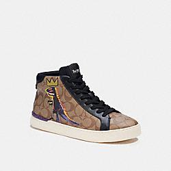COACH C6028 Coach X Jean-michel Basquiat Clip High Top Sneaker KHAKI/BLACK