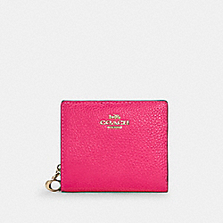COACH C6126 Snap Wallet In Colorblock IM/FLUORESCENT PINK