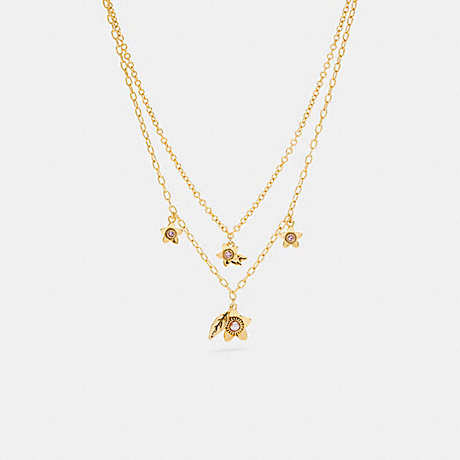 COACH C6300 WILDFLOWER PEARL DOUBLE CHAIN NECKLACE GOLD.