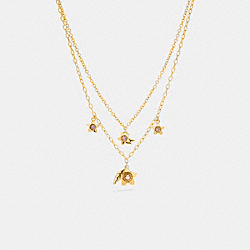 COACH C6300 - WILDFLOWER PEARL DOUBLE CHAIN NECKLACE GOLD.