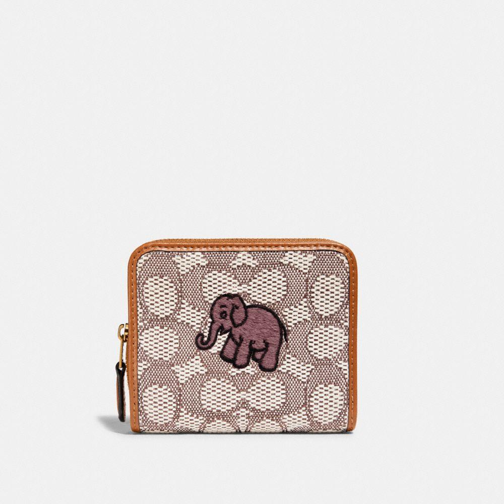 經典 SIGNATURE 緹花面料大象主題刺繡雙摺皮夾