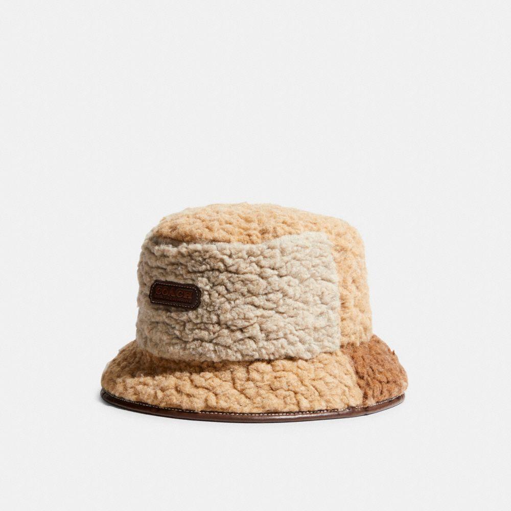 仿羔羊絨拼接漁夫帽