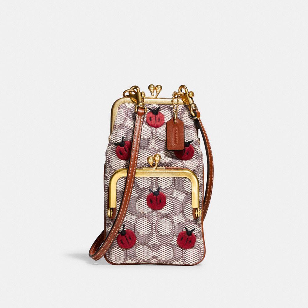 DOUBLE FRAME 12 經典 SIGNATURE 緹花面料瓢蟲主題刺繡雙框斜背手袋