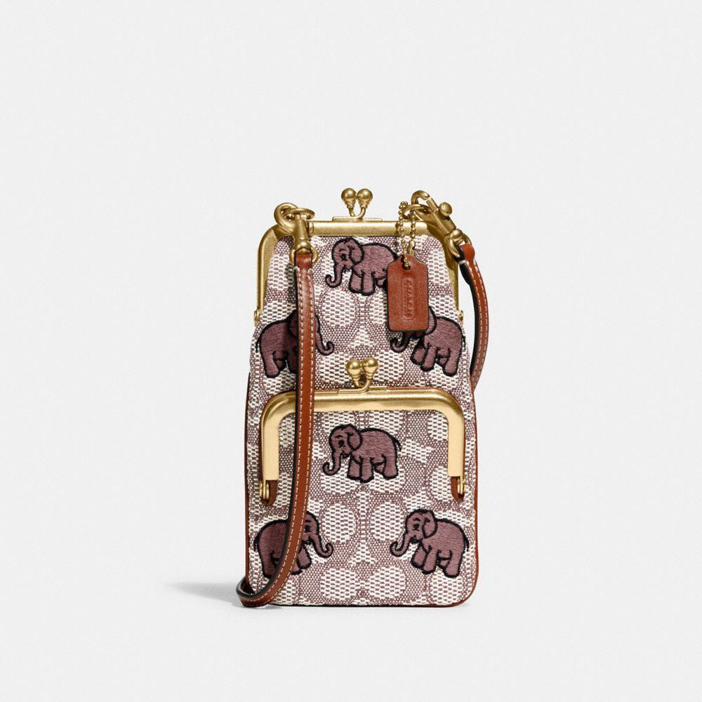 DOUBLE FRAME 12 經典 SIGNATURE 緹花面料大象主題刺繡雙框斜背手袋