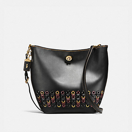 COACH F10498 DUFFLE SHOULDER BAG WITH COACH LINK DETAIL OL/BLACK-MULTI