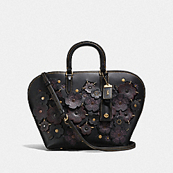 DAKOTAH SATCHEL WITH LINKED TEA ROSE - F10505 - OL/BLACK