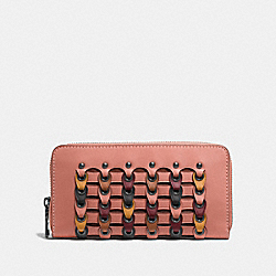 COACH F10560 - ACCORDION ZIP WALLET WITH COLORBLOCK COACH LINK MELON MULTI/BLACK COPPER
