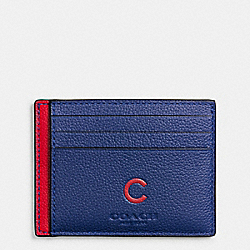 COACH MLB SLIM CARD CASE IN SMOOTH CALF LEATHER - CHI CUBS - F10847