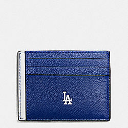 COACH F10847 Mlb Slim Card Case In Smooth Calf Leather LA DODGERS