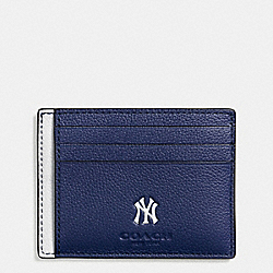 COACH F10847 Mlb Slim Card Case In Smooth Calf Leather NY YANKEES