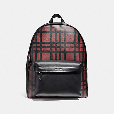 COACH f11164 CHARLES BACKPACK WITH WILD PLAID PRINT BLACK ANTIQUE NICKEL/CRIMSON/BLACK PLAID