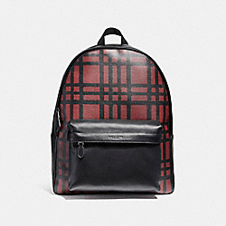CHARLES BACKPACK WITH WILD PLAID PRINT - f11164 - BLACK ANTIQUE NICKEL/CRIMSON/BLACK PLAID